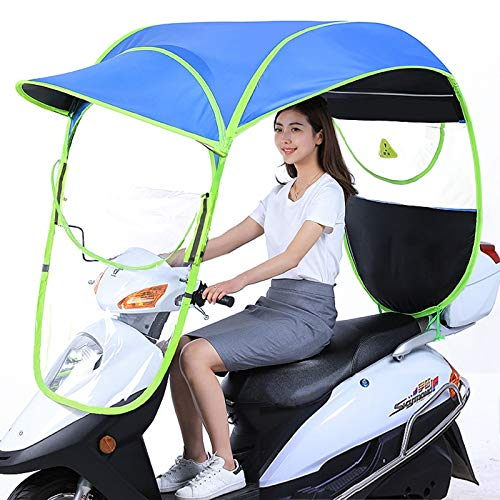 Copertura Parasole Per Moto Elettrica, Ombrello Impermeabile Pieghevole Per Bicicletta Copertura Antipioggia Per Scooter Parasole Per Parapioggia Motore Universale, Scooter,Blu,No rearview mirror