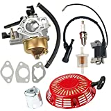 Hilom GX 340 Carburetor Carb with Recoil Starter for Honda GX340 GX390 GX 390 13HP 4-Stroke Engine Lawn Mower Tiller Cultivator Replace 16100-ZF6-V01 5244827