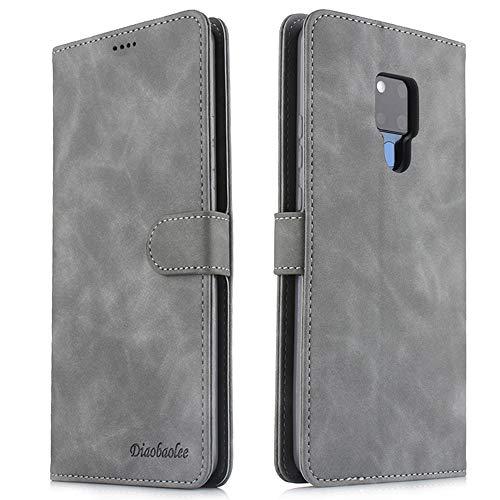 FMPC Handyhülle Kompatibel mit Huawei Mate 20X(5G)+3D Panzerglas, Premium mattierte PU Leder Flip Schutzhülle Wallet Hülle Tasche [Fallschutz][Kartensteckplätze][Magnetic Closure Snap] -Grau