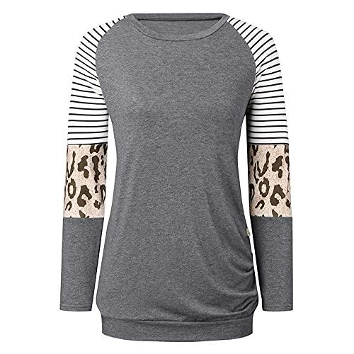SuéTer De Camiseta De Manga Larga con Botones De Costura De Rayas De Leopardo De Cuello Redondo De Moda para Mujer