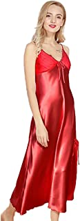 Vinmass Women Silky full Slips Sexy Lingerie V Neck Negligee Satin Long Slip Pajamas Sexy Nightwear Spaghetti Strap Lounge Nightgowns M-3XL