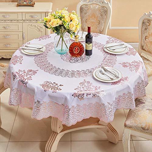 ZZHU Roze Europese hot stamping pvc tafelkleed huishoudelijke plastic rond tafelkleed diameter 180cm