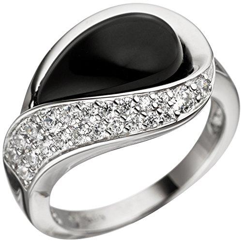 JOBO Damen-Ring aus 925 Silber mit Onyx und Zirkonia Größe 52