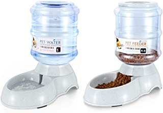 Flexzion Pet Waterer Feeder Food Water Dispenser Station - Replenish Pet Food for Dog Cat Animal Automatic Gravity Dry Food Storage Bottle Bowl Dish Stand