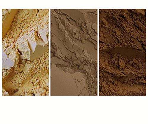 The Earth Tone Collection - 3 Pack Natural Mineral Pigment Pack (150 ml|5OZ EA): Light Yellow Ochre France | Natural Umber CPR | Burnt Umber France