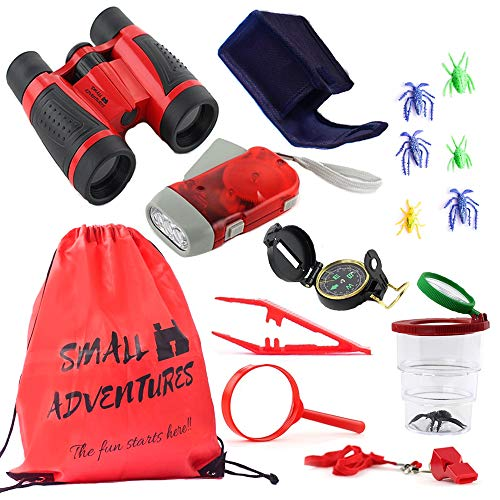 15 in 1 Outdoor Exploration Kit - Children's Toy Binoculars - Flashlight, Compass Whistle Magnifying Glass Bug Catch & Backpack. Kids Adventure Pack Camping, Hiking. Educational Kit Set for boy & girl