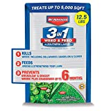 BIOADVANCED 704840B 3 in 1 Weed and Feed for Southern 5M Lawn Fertilizer with Herbicide, 12.5-Pounds, Granules