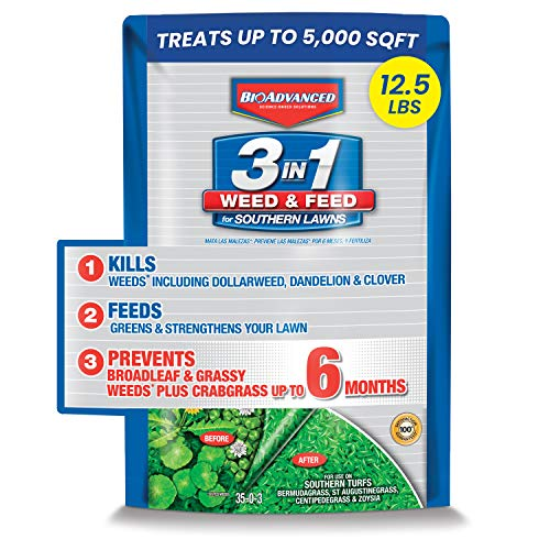 BioAdvanced 704840B 3 in 1 Weed and Feed for Southern 5M Lawn Fertilizer with Herbicide, 12.5-Pound, Granules