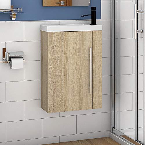 Aica Sanitär Badmöbel Set 45 cm Waschbecken mit Unterschrank Waschtisch Gäste WC kleinmöbel Eiche