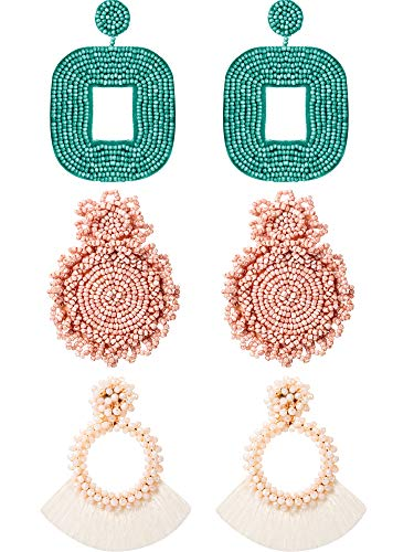 3 Pairs Statement Drop Beaded Earrings Handmade Tassel Fringe Dangle Earrings and Wire Wrapped Square Hoop Earrings for Woman Girls (Pink, Green, Creamy-White)