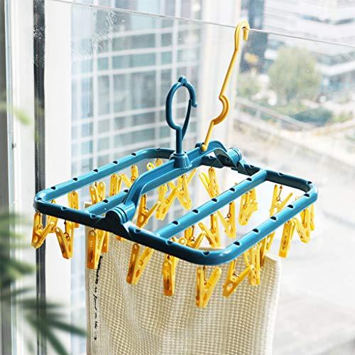 Wasrek voor droogrek, opvouwbaar, met 32 clips, ondergoed met clip, kunststof, washandje, waslijn voor sokken