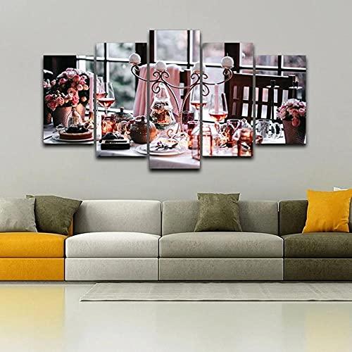 Cuadro sobre Lienzo Moderna Pintura sobre Lienzo Sala Estar Dormitorio Hermosos carteles de vajilla Cuadros de cocinas modulares Decoración Mural Artes Pared Regalo Carteles con Marco 5 Piezas150x80cm