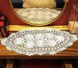Janef Tischläufer aus Baumwolle, handgefertigt, handgefertigt, Spitzendeckchen, oval, 40,6 x 68,5-137,1 cm, Beige/Weiß Shabby Chic 16 by 27 Inch weiß