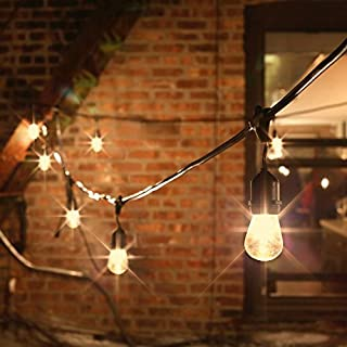 48 Ft Outdoor String Lights - 15 Edison Bulbs Included, Commercial Grade Strand, Glass S14 Bulbs, Waterproof for Exterior Lighting, Connectable, Dimmable, ETL Listed