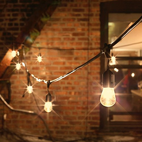 Outdoor String Lights 48 Ft - Glass Edison Bulbs, 15 Hanging Sockets, Dimmable, Commercial Grade, Waterproof, Connect 7 Strands, Patio, Porch or Garden Lighting - ETL Listed
