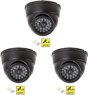CCTV Cámara Falsa Simulada De Seguridad Impermeable Exterior Domo Interior Simulación Vigilancia con Parpadeo Rojo Led Venta Al por Mayor 3 Piezas