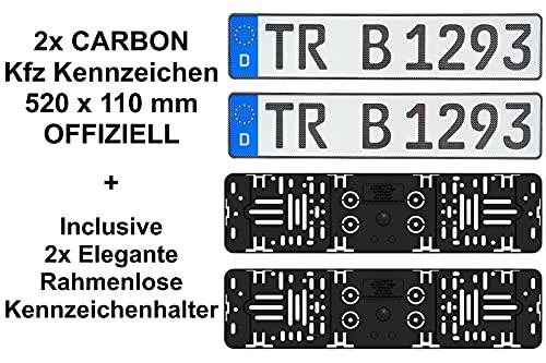2x CARBON Optik Kfz Kennzeichen 520 x...
