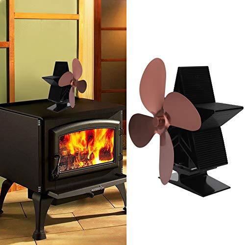 Ventilador de calor autoalimentado Ventilador de calor para chimenea Ventilador de estufa de leña para distribución de calor Sala de estar(Bronce)