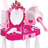 Best Choice Products Kids Vanity Mirror Set Pretend Play Girl Toy w/ Magic Wand Remote, Toy Hairdryer, Lights & Sounds, Stool, Accessories