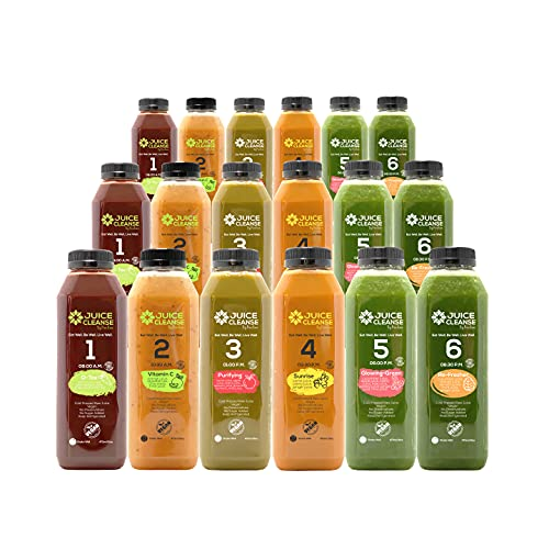 natural cleanses Cold Pressed 3 Day Juice Cleanse - Natural Detox – Plant Based – Healthy Vegan Diet – Fresh Raw Green Vegetables – Enhances Immunity (18 Total 16 oz. Bottles)