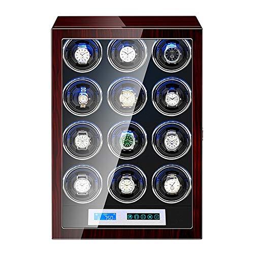 WZ Uhrenbeweger Watch Winder Box für Die Automatische Uhr LCD Touchscreen Holzpianofarbe Außen Einstellbare Uhrenkissen (Size : 12+0)
