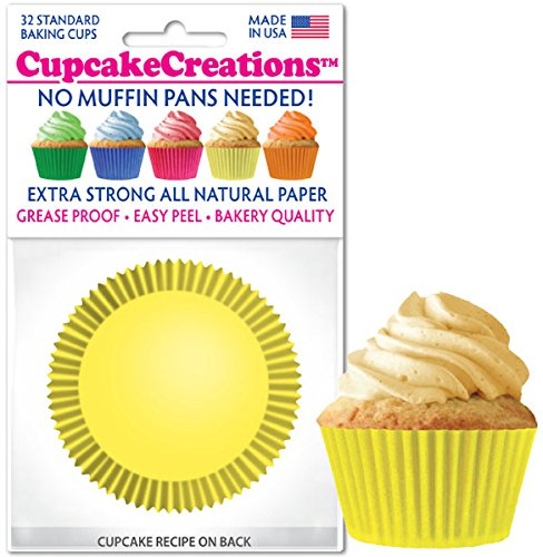 Cupcake Creations 2' BAKING CUPS Yellow 32 Pack No Muffin Pan Need Eco Friendly