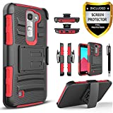 LG K10 Case, LG Premier LTE Case, Combo Rugged Phone Cover and [HD Screen Protector] with Built-in Kickstand and Holster Locking Belt Clip + Circlemalls Stylus Pen for LG K10 / LG Premier LTE - Red