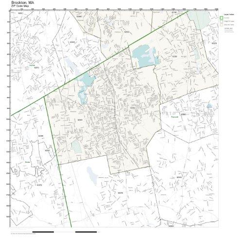 ZIP Code Wall Map of Brockton, MA ZIP Code Map Not Laminated