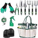 Cozywind Herramientas de Jardín 11Pcs Kit de Jardinería Juegos de Herramientas con Organizador Bolsa, Pala, Tijera, Harrow, Rociador de Agua, Guantes de Jardin etc