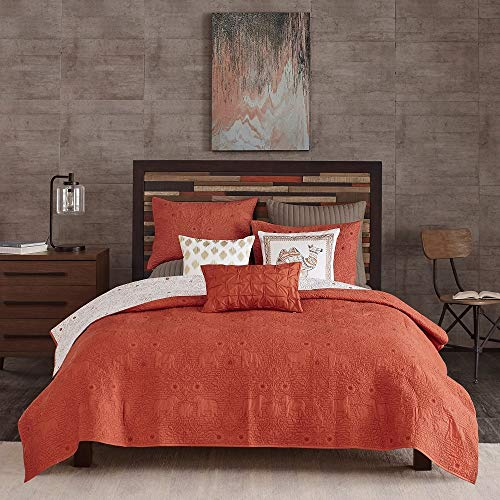 3 Pc Eclectic Mid-Century Modern Red Quilt King Size, All Seasons Embroidered Pattern Victorian Style Boho Bedding, Casual Rich Coral Color Adorable Elephants Flowers Print Reversible Quilted Coverlet