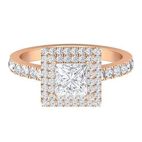 Rosec Jewels 14 quilates oro rosa Round Brilliant Moissanite