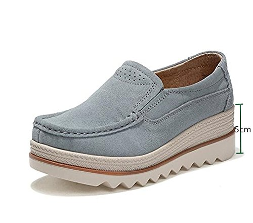 NEOKER Damen Mokassins Plateau Wildleder Schlupf Loafers Halbschuhe Sneaker mit Keilabsatz 5cm Schwarz Blau Khaki 35-42 Grey 35