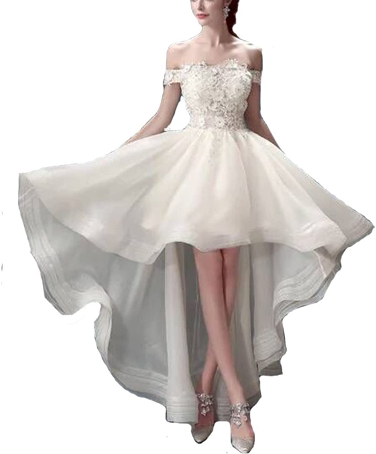 FWVR Women's HiLo Wedding Dresses for Bride 2018 Off Shoudler Lace Bridal Gowns