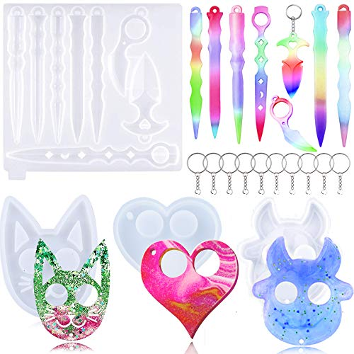 Ibeauti 4 Pcs Self Defense Keychain Resin Mold Set Valentine#039s Day Gifts 10 Key Chain Shapes Knife Cat Dog Heart DIY Crafts Silicone Mold for Women