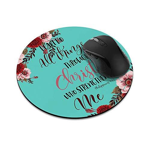 N\A Alfombrilla de ratón Redonda Antideslizante Versículos de la Biblia Cristiana Filipenses 4:13 Alfombrilla de ratón para el hogar, la Oficina y el Escritorio de Juegos
