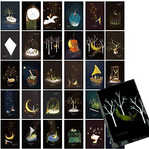 Postkarten, 30 Stück, leuchtet im Dunkeln, Postkarten, Postkarten, Postkarten, Postkarten, Postkarten, Berühmte Landschaften, Danksagungskarten, Sammelkarten (Mond)