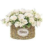 Fiore Artificiale Garofano Rosa Fiori finti Bouquet da Sposa da Sposa Fiori in Fiore Realistici con Cesto in Vaso Confezione da 3 per la Casa Garden Party Hotel Decorazioni per Ufficio