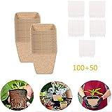 Paquete de Macetas de Inicio de plántulas biodegradables+ Etiquetas Portátil Macetas de plántulas cuadradas ecológicas Ideal para Inicio y Crecimiento de Semillas