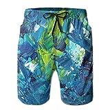 Kling Malerei Acrylfarbe Männer/Jungen Casual Shorts Badehose Badebekleidung Elastische Taille Strandhose mit Taschen,XL