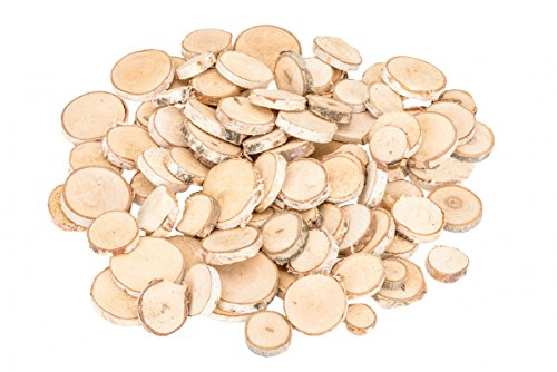 NaDeco Birkenscheiben rund Ø 2-5cm 400g Baumscheiben kleine Birkenscheiben Birkenast Scheiben Birkenholz Deko Holzscheiben zur Dekoration