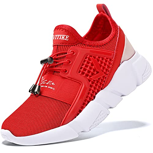Kids Shoes Boys Girls Sneakers Lightweight Wrestling Tennis Sports Shoes Slip On Running Walking Shoes School Casual Trainer Shoes Red Size 1