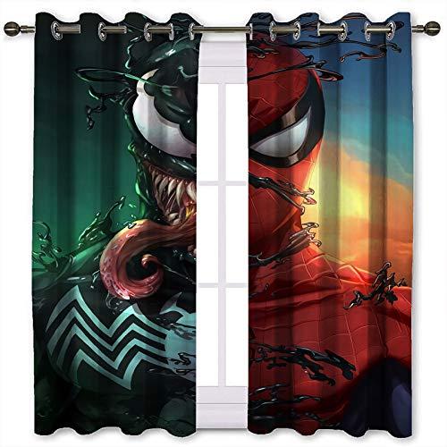 Kitchen Curtains Spider Man Venom Art Room Darkening Curtains for Bedroom (W106xL160cm)
