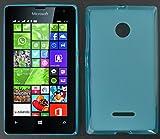 Microsoft Lumia 435 / Microsoft Lumia 435 Dual Sim Silikon Schutzhülle Hülle Tasche (Matt Durchsichtig) Blau