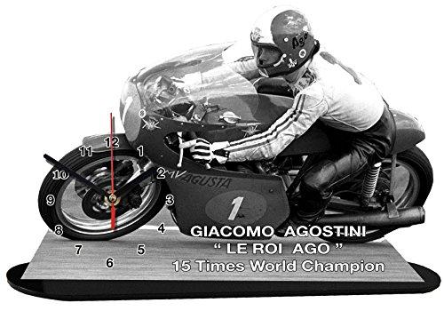 auto-horloge Giacomo AGOSTINI, Moto GP, MVAGUSTA, Miniatur Modell Motorrad in der Uhr 01