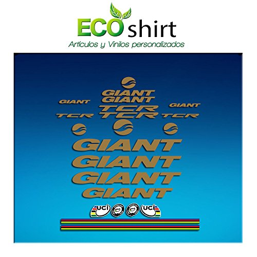 Ecoshirt IM-9F8J-GWB9 Pegatinas Frame Cuadro Giant TCR Am21 Stickers Aufkleber Decals Adesivi Bike BTT MTB Cycle, Gold