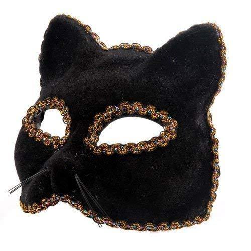 The Rubber Plantation TM- Black Panther Masque vénitien pour déguisement de chat Gatto, Unisexe-Adulte, 619219292528, Noir, Taille unique