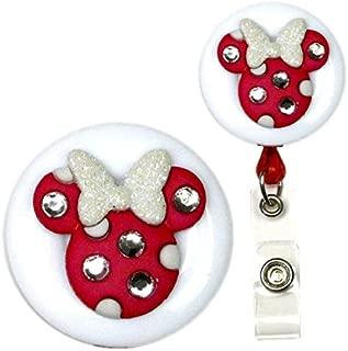 Minnie Mouse Bling Decorative Badge Holder (Dark Fuchsia w/White Swivel Alligator)