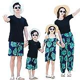 DAHDXD Sommer Familie Passende Outfits Lässige Baumwolle Papa Sohn T-Shirt + Shorts Mama Weites Bein Hose Anzug Tochter Strap Kleider Mädchen Kleider