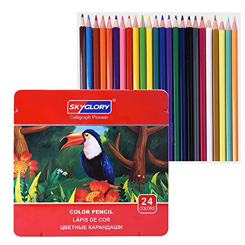 Colored Pencils Set, Professional Soft, Thick Core Pencils for a Smooth Color Vibrant Artist Pencils for Beginners & Pro Artists with Metal Box (Set of 12)