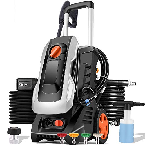 mrliance 3300PSI Electric Pressure Washer 1800W 2.6GPM High Pressure Power Washer Car Washer with Hose Reel, 5 Adjustable Nozzles, Soap Bottle (Sliver)